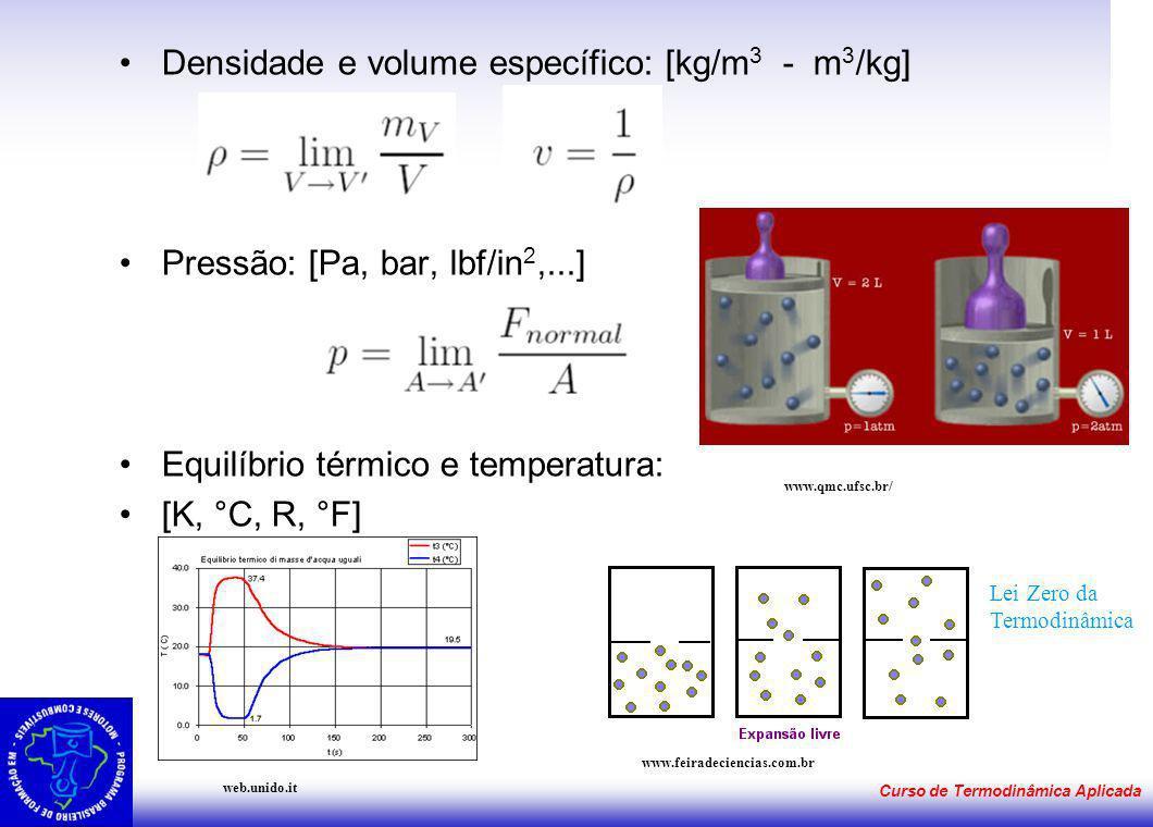 Densidade e volume específico: [kg/m3 - m3/kg]